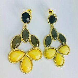 New! Crystals Statement Earrings Gold